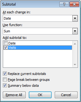 Applying excel subtotals with vba wheatblog define which column excel should check for changes and which columns should get a subtotal and what sort of subtotal it should be eg sum count ibookread PDF